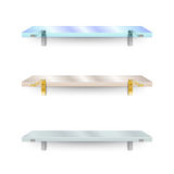 Set of shelves. Two different glass shelves and one opaque. Royalty Free Stock Photography