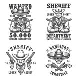 Set of sheriff and bandit emblems Stock Image