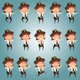 Set of Sheriffe women flat icons Royalty Free Stock Image