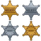 set sheriffstjärna för emblem royaltyfri illustrationer