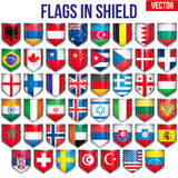 Set of Shield with flags Stock Images