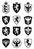 Set of shield heraldry. Set of heraldry shield design, with lions, eagles and horse Royalty Free Stock Photos
