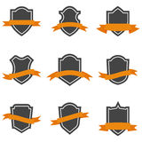 Set of shield icons with ribbons Royalty Free Stock Photos