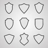 Set of shield icons Stock Photos