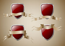 Set of shields with banners Stock Photography