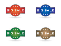 Set of shields with a big sale sign Royalty Free Stock Image