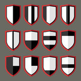 Set of shields black and white Royalty Free Stock Photo