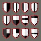 Set of shields black and white. 12 blank of retro shields Royalty Free Stock Photo