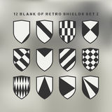 Set of shields black and white. 12 blank of retro shields Stock Photography