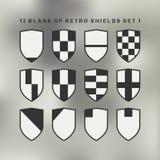 Set of shields black and white. 12 blank of retro shields Royalty Free Stock Photos