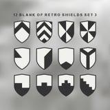 Set of shields black and white. 12 blank of retro shields Stock Image