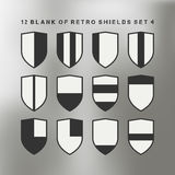 Set of shields black and white. 12 blank of retro shields Royalty Free Stock Images