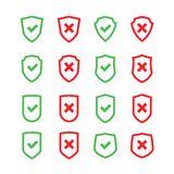 Set of shields with checkmark symbol in flat design style Royalty Free Stock Images