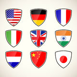 Set of shields with flags Stock Images