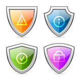 Set shields with identification signs Stock Photo