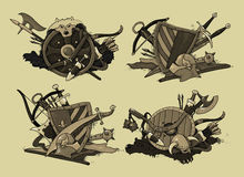 Set of shields medieval Stock Images