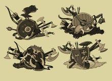 Set of shields medieval Stock Photos