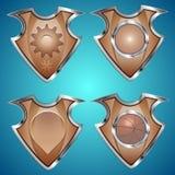 Set of shields. Set of metallic logo shields. Vector illustration Stock Photography
