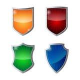 Set of shields protection, web security, antivirus logotype concept. Stock Images