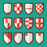 Set of shields red. 12 blank of retro shields Royalty Free Stock Photo