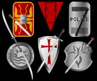 Set of shields and swords Royalty Free Stock Photo