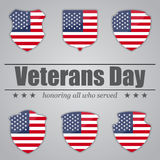 Set of shields with USA flag inside for Veterans Day. Vector illustration Royalty Free Stock Image