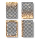 Set shine transparent background. Set of backgrounds with holiday lights for decoration greeting cards. Christmas ornament with shiny confetti on a transparent Royalty Free Stock Photography