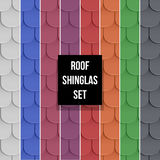 Set of Shingles roof seamless patterns. Set of different color Shingles roof seamless patterns. Classic style. Vector illustration Stock Photo