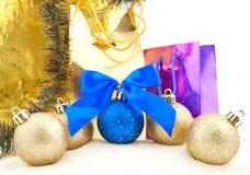 Set of shining Christmas-tree decorations Stock Photo