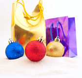 Set of shining Christmas-tree decorations Stock Photos