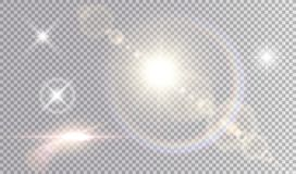 Set of shining light effects. Several white small stars, sun with lens flare and rainbow halo, cinematic spaceship glare Stock Images