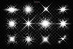 Set. Shining star, the sun particles royalty free illustration