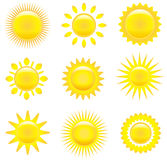 Set of shining suns Royalty Free Stock Photos
