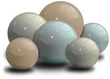 Set of shiny balls with shadow Royalty Free Stock Photos