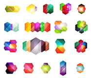 Set of  shiny blank boxes for your content. Abstract geometric elements suitable for text or infographics Royalty Free Stock Image