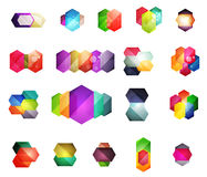 Set of  shiny blank boxes for your content. Abstract geometric elements suitable for text or infographics Stock Photos