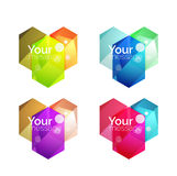 Set of  shiny blank boxes for your content. Abstract geometric elements suitable for text or infographics Royalty Free Stock Photo