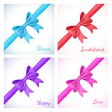 Set of shiny bow and ribbon on white background. Vector illustration for your holiday gift design. Blue, red, purple and pink colors Royalty Free Stock Photos