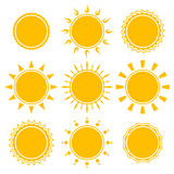 Set of shiny bright yellow sun Royalty Free Stock Photography
