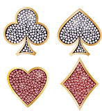 Set of shiny card suit. Playing card decorated with brilliants Royalty Free Stock Images
