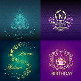 Set shiny cards, pattern, ornament. Set elegant cards with pattern, floral design, corporate identity and greeting cards decorated shiny. Vector illustration Royalty Free Stock Photo