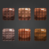 Set of shiny chocolate  square button Royalty Free Stock Photo