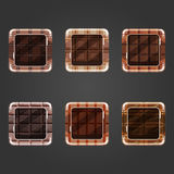 Set of shiny chocolate  square button Stock Photos