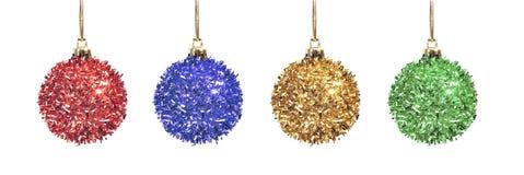Set shiny christmas ball isolated white background Royalty Free Stock Photos