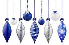 Set of shiny christmas balls on white background Stock Image