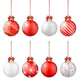 Set of shiny christmas balls on white background Royalty Free Stock Photos