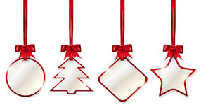 Set of shiny christmas price tags with red bows. Set of hanging shiny christmas price tags with red bows - on white background. Vector illustration stock illustration