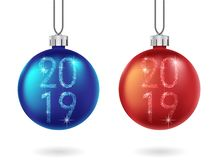 Set of shiny Christmas red and blue ball isolated. Sparkling glitter bauble with 2019 text. Christmas and New Year. Bauble for holiday decoration. Vector stock illustration