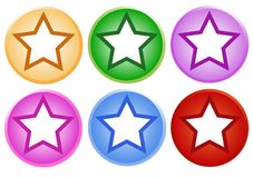 Set of Shiny Circle Labels with Star Stock Photography