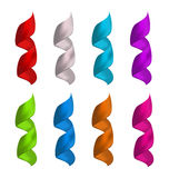 Set shiny colorful satin spiral ribbons isolated on white backgr Stock Images